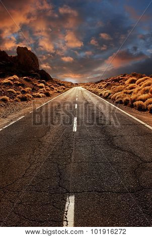 Road Through Sunset Desert