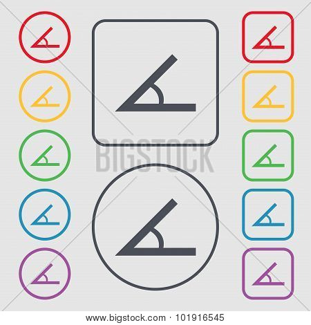 Angle 45 Degrees Icon Sign. Symbols On The Round And Square Buttons With Frame. Vector