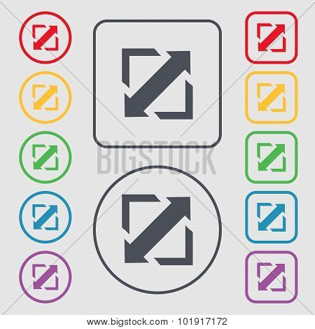 Deploying Video, Screen Size Icon Sign. Symbols On The Round And Square Buttons With Frame. Vector