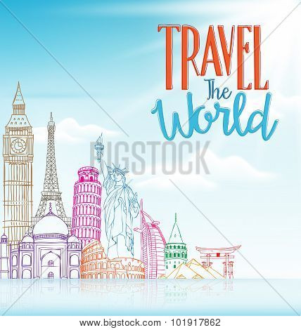 Travel The World Concept Design Background of Line Drawing