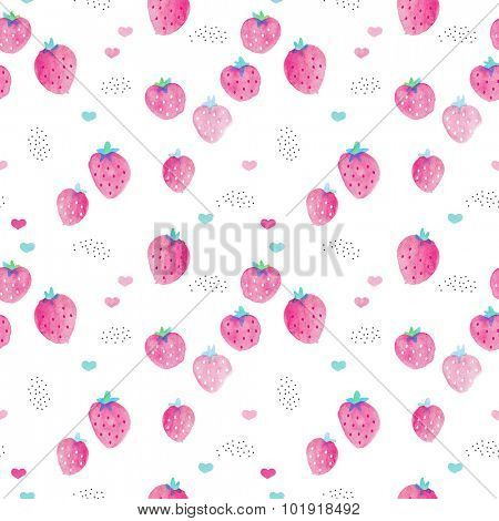 Seamless colorful strawberry summer hot pink fruit water color illustration for kids with hearts love background pattern