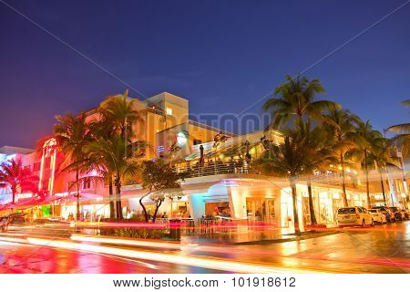 Miami Beach hotels and restaurants at sunset