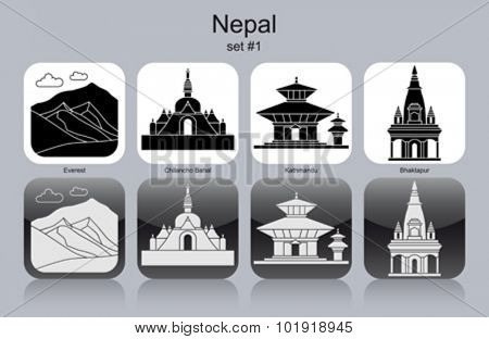 Landmarks of Nepal. Set of monochrome icons. Editable vector illustration.