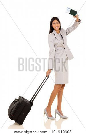 happy indian businesswoman waving goodbye isolated on white background