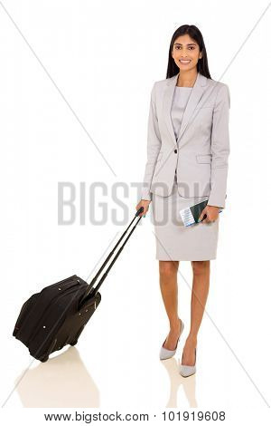portrait of businesswoman with luggage bag and air ticket on white background