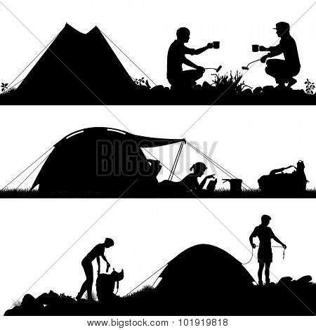 Set of eps8 editable vector silhouettes of people camping with figures and tents as separate objects