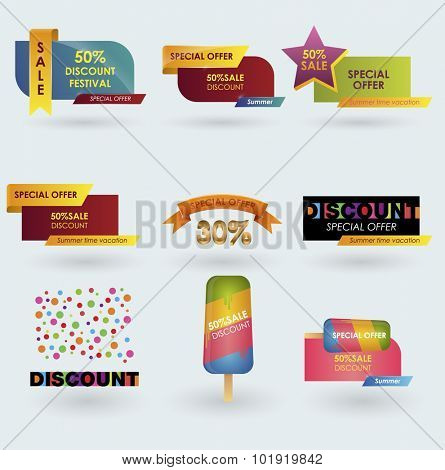 set summer sale design template. sale shopping background and label for business promotion. Sale design template vector