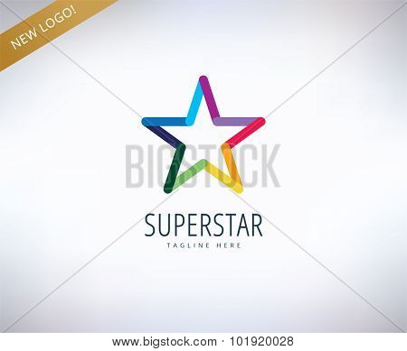 Star vector logo icon. Leader, winner, rank or competition and shine symbol. Stock design element.