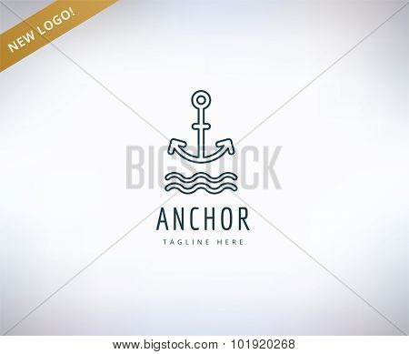 Anchor vector logo icon. Sea, vintage or sailor and sea symbol. Stocks design element.