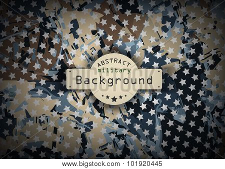 Camouflage military pattern with stars background. Vector illustration, EPS10