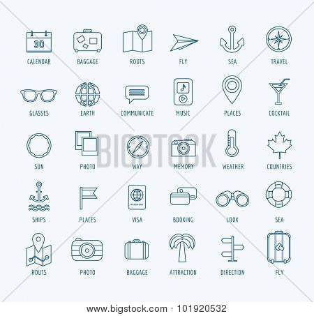 Travel vector logo icons set. Sea, travel or holiday and sea symbol. Stocks design element.