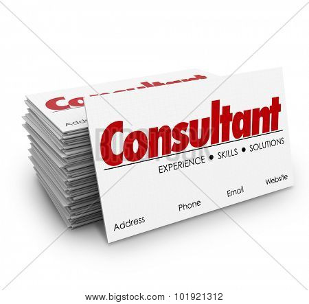 Consultant word for expertise, knowledge, skills and professional contract work on business cards in stack or pile