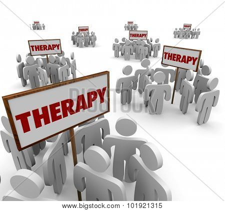 Therapy signs and patients gathered around them in group sessions to talk about problems or illness and cures or treatments