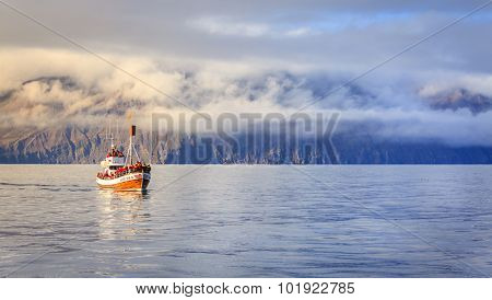 Husavik, Iceland - September 10, 2013: Whale watching ships in the Skjalfandi Bay in Northern Iceland