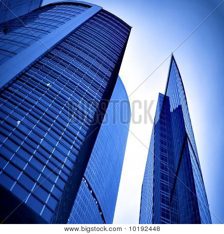 dwelling place of business center in blue colors