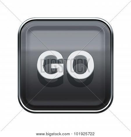 Go Icon Glossy Grey, Isolated On White Background
