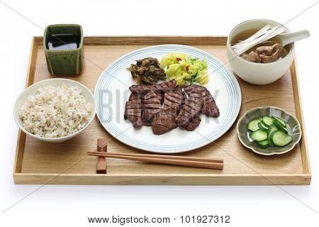 grilled beef tongue set meal, Sendai gyutan teishoku, japanese food