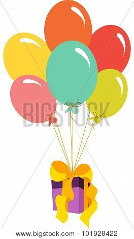 Gift box flying with balloons