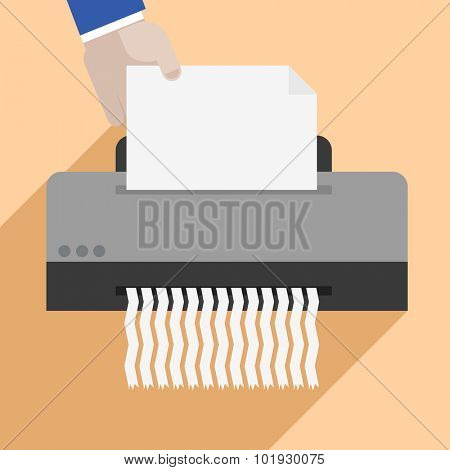 minimalistic illustration of a hand putting a letter into a paper shredder, eps10 vector