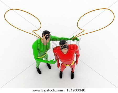 3D Superheros Chitchat With Each Other  And A Speech Bubbles On Top Concept