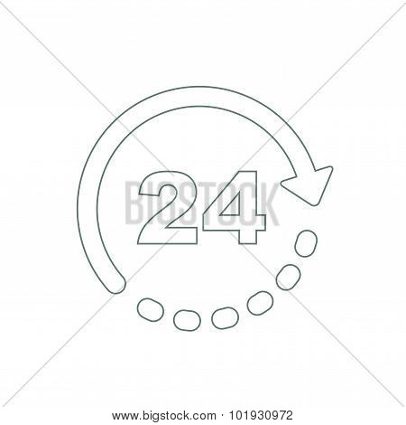 Drawing Of A 24 Hours 7 Days A Week Concept. A Symbol For Always Available Service.