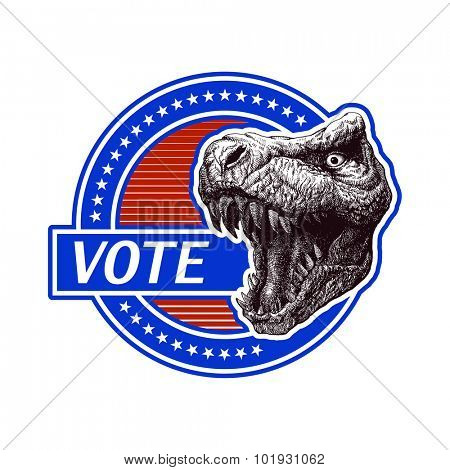 Vote. Vector banner with t-Rex.  vector illustration.