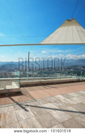 modern penthouse, beautiful panorama from a terrace, city view
