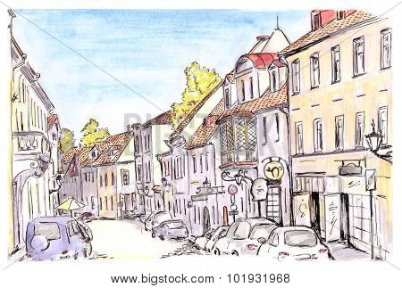 Hand painted sketch of Tallinn city street, Estonia