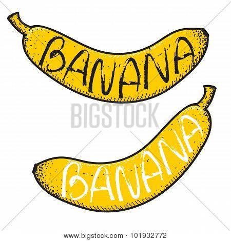 Set of 2 bananas with the word handmade. Doodle fruits