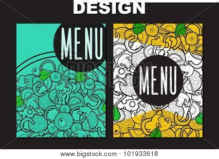 Design menu with doodle pizza. Sketch pizza