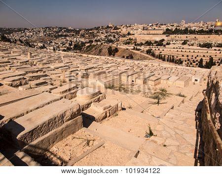 JERUSALEM ISRAEL - July 13 2015: Old jewish graves on the mount of olives in Jerusalem