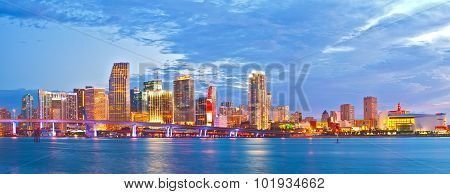 Miami Florida at sunset cityscape