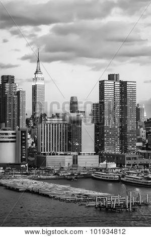 Manhattan Skyscrapers At Hudson River Dock Bw