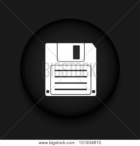 Vector modern diskette black circle icon