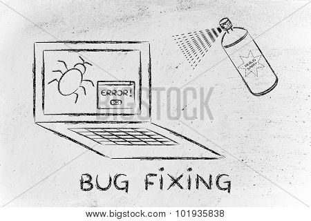Funny Spray Fixing Computer Bugs