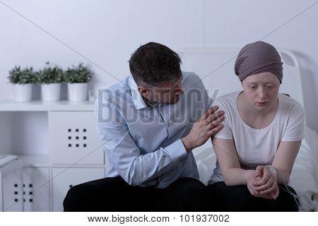 Comforting Sick Daughter