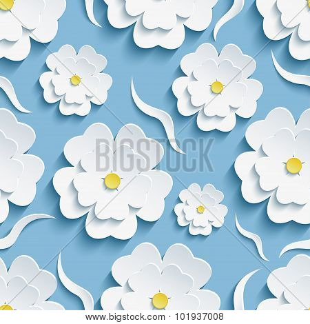 Background Seamless Pattern With Sakura And Waves