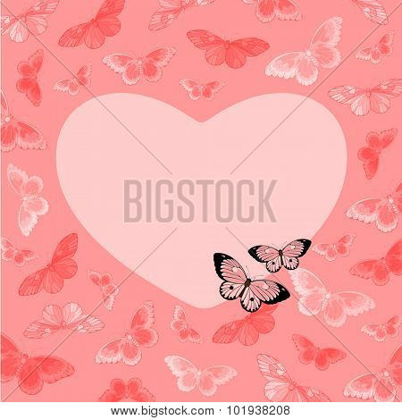 Beautiful pink card with butterflies and heart-shaped place for your text or photo