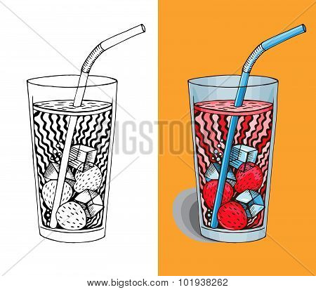 Vector Strawberry Smoothie Or Milkshake, Hand Drawn Graphic Healthy Drink In Glass Icon