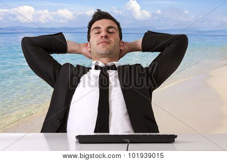 businessman relaxed with beach