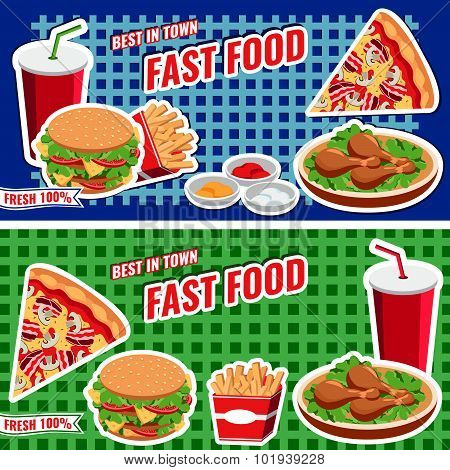 Vector Fast Food Concept Banner Flat Style, Templates With Burger, Pizza, Soda, Fries