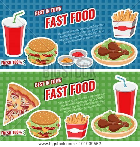 Fast Food Concept Banner Flat Style, Vector Templates For Cafe, Bistro, Fast Food Leaflet Design.