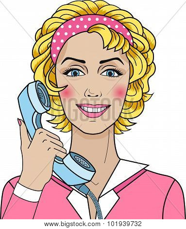Pop Art Woman Chatting On The Phone, Vector In Comics Style. Cute Blond Support Woman Icon With Phon