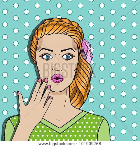 Pop Art Woman Confused, Red Hair Surprised Woman. Comic Woman Vector For Advertising Poster Or Card.