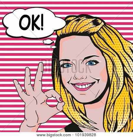 Woman Says Ok Pop Art Comics Style. Vector Retro Young Woman Showing Ok Gesture.