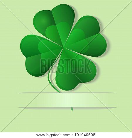 Green shamrock, four leaf clover, vector illustration