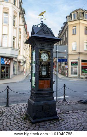 Advertisement Clock In Werdau, Germany, 2015