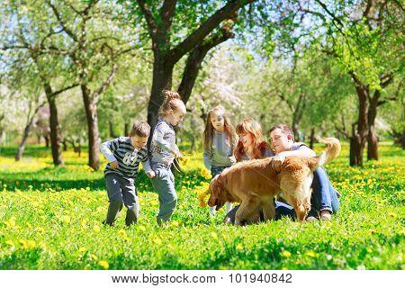 Riendly, Cheerful Family Having A Picnic.