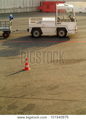 Truck Vehicle For Transport Luggage In The Airport