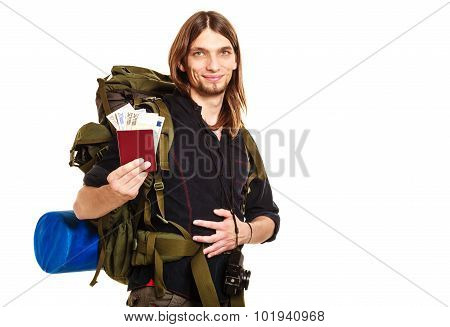 Man Tourist Backpacker Holding Money And Passport
